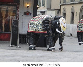 GENEVA, SWITZERLAND - FEB 24, 2018 - Elephant statue in front of Indian restaurant in Geneva, Switzerland