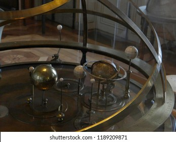 GENEVA, SWITZERLAND - FEB 24, 2018 - Antique orrery showing movement of planets around  the sun at the History of Science Museum in Geneva, Switzerland