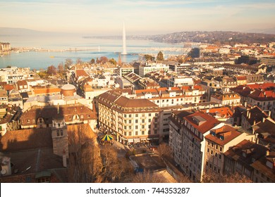 GENEVA, SWITZERLAND - January 2015: Geneva old city roofs. Geneva aerial view from St. Pierre Cathedral bell tower. Winter day in Geneva, Switzerland