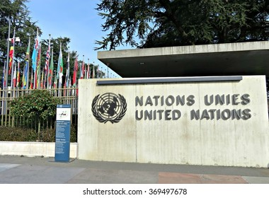 GENEVA, SWITZERLAND - JANUARY 28, 2016: Sign and the entrance of the United Nations office in Geneva.