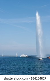 Geneva, Switzerland, jet d'eau fountain and passenger ship