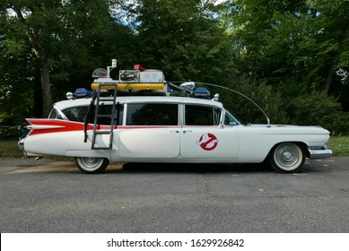 GENEVA, SWITZERLAND - Jul 13, 2017: Ghostbusters car at Parc de la Perle du lac