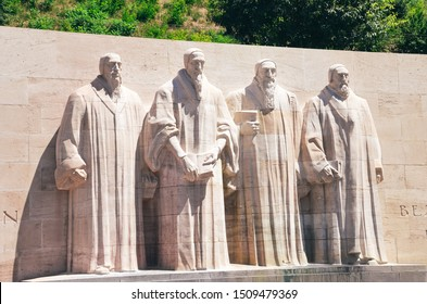 Geneva, Switzerland - July 19, 2019: The Reformation Wall, monument to the Protestant Reformation of the Church. Significant Protestant figures William Farel, John Calvin, Theodore Beza and John Knox.