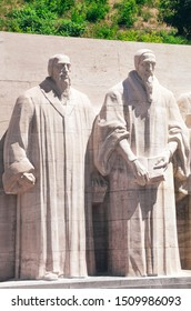 Geneva, Switzerland - July 19, 2019: The Reformation Wall, monument to the Protestant Reformation of the Church. Significant Protestant figures William Farel and John Calvin