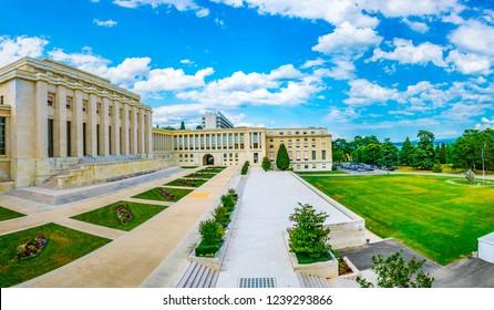GENEVA, SWITZERLAND, JULY 20, 2017:Palace of Nations building - seat of the United nations - in Geneva, Switzerland