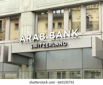 Geneva, Switzerland - June 05, 2017: Arab Bank (Switzerland) bulding at Place de Longemalle in Geneva.