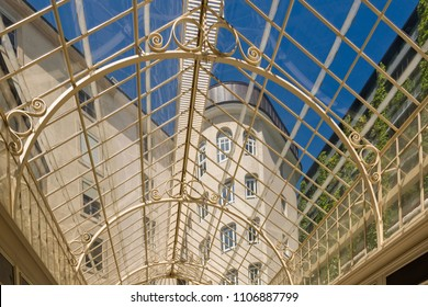 Geneva , Switzerland - june 06, 2018 : the large glass roof of the passage of the lions, restored in 2016