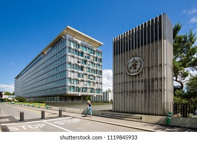 Geneva Switzerland - june 06, 2018 :The World Health Organization (WHO/OMS) headquarters is situated on the outskirts of Geneva at the end of Avenue Appia