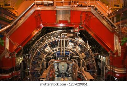 Geneva, Switzerland - June 20, 2014: Large Hadron Collider (LHC) in CERN in maintenance