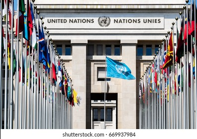GENEVA, SWITZERLAND - JUNE 20, 2017: National flags at the entrance in UN office at Geneva, Switzerland. The UN Office was established in Geneva in 1947 and it is home to the UN Human Rights Council.