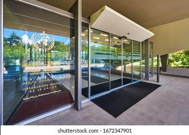 Geneva, Switzerland - June 2019: Entrance to the World Health Organization headquarters