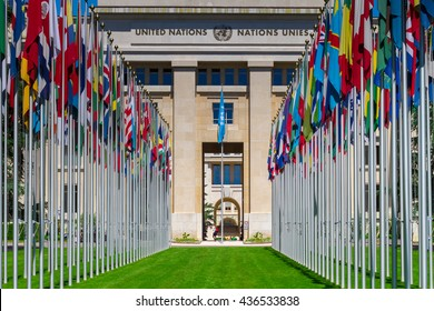 GENEVA, SWITZERLAND - JUNE 6, 2016: National flags at the entrance in UN office at Geneva, Switzerland . The United Nations was established in Geneva in 1947 and is the second largest UN office