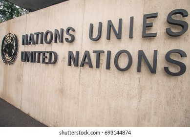GENEVA, SWITZERLAND, JUNE 7, 2012: The United Nations (Nations Unies) or UN sign in front of the UN Headquarters in Geneva
