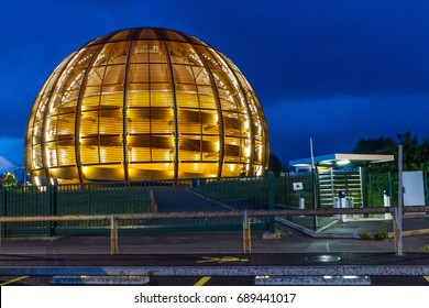GENEVA, SWITZERLAND - JUNE 8, 2016: The Globe of Science & Innovation in CERN research center, home of Large Hadron Collider (LHC for test theories in particle physics, like properties of  Higgs boson