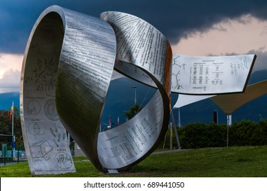 GENEVA, SWITZERLAND - JUNE 8, 2016: The Globe of Science & Innovation in CERN research center, home of Large Hadron Collider (LHC). The sculpture was designed by Canadian artist Gayle Hermick