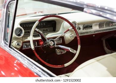 GENEVA, SWITZERLAND -JUNI 6, 2018: Interior of amercian carStatic exhibition of classic and antique cars