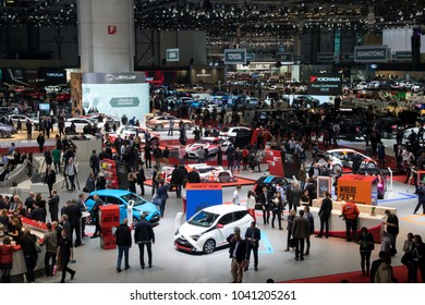 GENEVA, SWITZERLAND - MAR 6, 2018: Visitors and cars at the 88th Geneva International Motor Show.