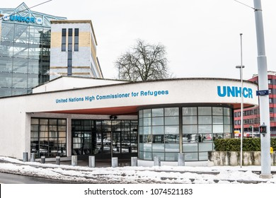Geneva, Switzerland, March 05, 2018, Winter: Office of United Nations High Commissioner for Refugees, UNCHR sign, United Nations program with mandate to protect refugees, 5.4 million people fled Syria