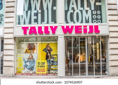 Geneva, Switzerland, March 05, 2018, Winter: Tally Weijl store with fashionable and luxury products, logo, sign. TALLY WEiJL is a fashion label based in Basel, Switzerland