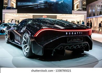 Geneva, Switzerland, March 05, 2019: metallic black Bugatti La Voiture Noire at Geneva International Motor Show, Dream Cars, Bugatti exhibition site, most expensive new car ever
