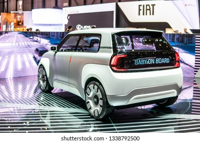Geneva, Switzerland, March 05, 2019: prototype Fiat Centoventi concept car at Geneva International Motor Show, concept of affordable EV electric vehicle