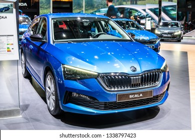 Geneva, Switzerland, March 05, 2019: metallic blue all new Skoda Scala at Geneva International Motor Show, Skoda Scala is small family car based on the concept Vision RS of Czech automaker Skoda Auto