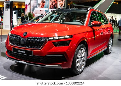 Geneva, Switzerland, March 05, 2019: World premiere: metallic red Skoda Kamiq at Geneva International Motor Show, MQB A0 subcompact SUV produced by Skoda Auto