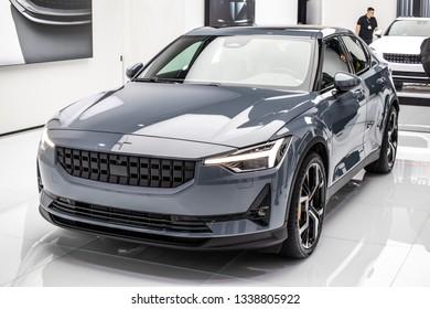Geneva, Switzerland, March 05, 2019: Volvo Polestar 2 at Geneva International Motor Show,  all-electric 5-door fastback developed and manufactured by Polestar
