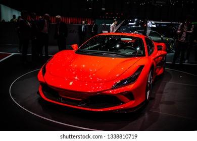 Geneva, Switzerland, March 05, 2019: metallic red Ferrari F8 Tributo at Geneva International Motor Show, mid-engined sports car produced by the Italian manufacturer Ferrari
