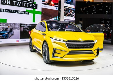 Geneva, Switzerland, March 05, 2019: metallic yellow Skoda VISION iV concept prototype car at Geneva International Motor Show purely electrically driven concept car produced by Skoda Auto
