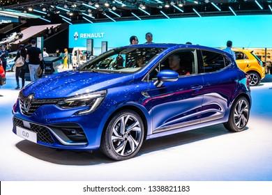 Geneva, Switzerland, March 05, 2019: all-New Renault Clio V at Geneva International Motor Show, fifth generation, CMF-B platform, car produced by Renault