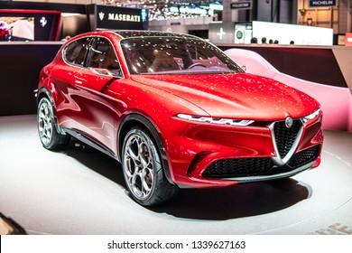 Geneva, Switzerland, March 05, 2019: metallic red Alfa Romeo Tonale Concept Prototype car at Geneva International Motor Show, Centro Stile PHEV 2+2 seat concept SUV car from Alfa Romeo