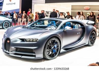 Geneva, Switzerland, March 05, 2019: Bugatti Chiron Sport at Geneva International Motor Show, Dream Cars, Bugatti exhibition site