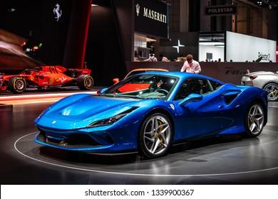 Geneva, Switzerland, March 05, 2019: metallic blue Ferrari F8 Tributo at Geneva International Motor Show, mid-engined sports car produced by the Italian manufacturer Ferrari