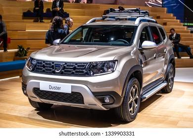 Geneva, Switzerland, March 05, 2019: new DACIA DUSTER at Geneva International Motor Show, Second generation, B0 platform, Automobile Dacia booth, Romanian car manufacturer