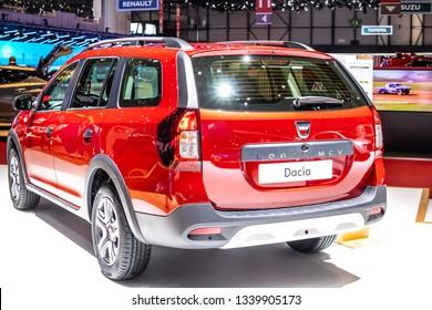 Geneva, Switzerland, March 05, 2019: DACIA LOGAN MCV Stepway at Geneva International Motor Show, Automobile Dacia booth, Romanian car manufacturer