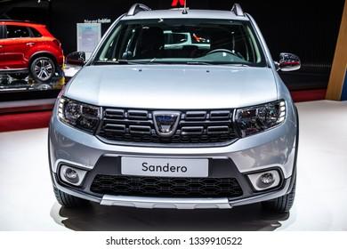 Geneva, Switzerland, March 05, 2019: metallic silver DACIA SANDERO at Geneva International Motor Show, second generation, Automobile Dacia booth, Romanian car manufacturer