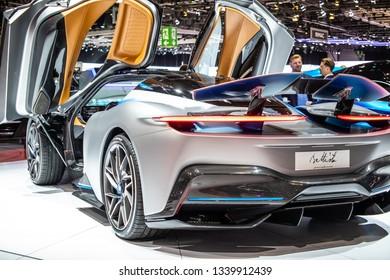 Geneva, Switzerland, March 05, 2019: Pininfarina Battista at Geneva International Motor Show, electric sports car manufactured by Italian automobile manufacturer Automobili Pininfarina