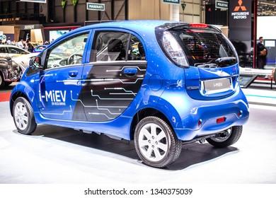 Geneva, Switzerland, March 05, 2019: Mitsubishi I-MiEV Eco Drive EV electric vehicle car showcased at Geneva International Motor Show, produced by Japanese Mitsubishi Motors