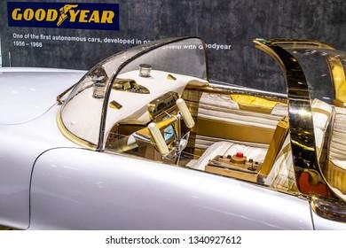 Geneva, Switzerland, March 05, 2019: Goodyear Golden Sahara II Concept Prototype Car from 1956-1968, advanced autonomous developed in partnership with Goodyear
