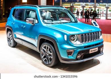 Geneva, Switzerland, March 05, 2019: metallic blue Jeep Renegade at Geneva International Motor Show, subcompact crossover SUV produced by Jeep