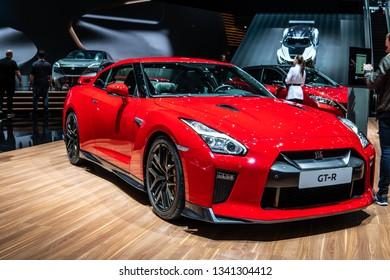 Geneva, Switzerland, March 05, 2019: metallic red Nissan GT-R at Geneva International Motor Show, 2-door 2+2 high performance vehicle produced by Nissan