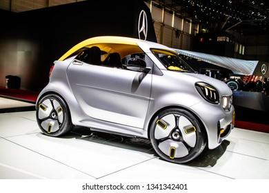 Geneva, Switzerland, March 05, 2019: Show car: Smart Forease+ vision EQ fortwo cabrio Mercedes-Benz at Geneva International Motor Show, prototype produced by Mercedes Benz