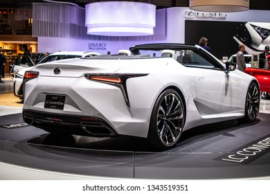 Geneva, Switzerland, March 05, 2019: Lexus LC Convertible Concept Prototype Car at Geneva International Motor Show, Tadao Mori as Chief Designer, produced by Japanese car maker Lexus