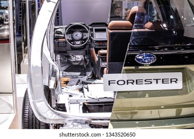 Geneva, Switzerland, March 05, 2019: cross section of all-new Subaru Forester at Geneva International Motor Show, Fifth generation, sk, compact crossover SUV manufactured by Subaru