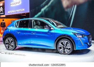 Geneva, Switzerland, March 05, 2019: metallic blue all-new all-electric Peugeot e-208 GT II at Geneva International Motor Show, eCMP platform, second generation, e208 car produced by Peugeot