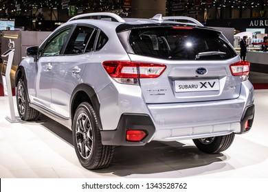 Geneva, Switzerland, March 05, 2019: metallic silver Subaru XV at Geneva International Motor Show, second generation, crossover SUV manufactured by Subaru