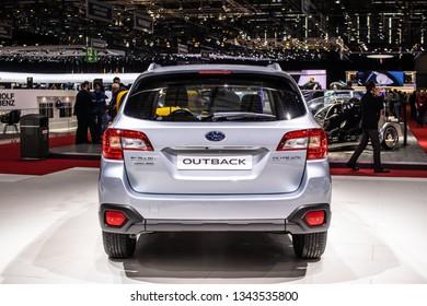 Geneva, Switzerland, March 05, 2019: metallic silver Subaru Outback at Geneva International Motor Show, station wagon manufactured by Subaru