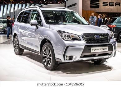Geneva, Switzerland, March 05, 2019: metallic silver all-new Subaru Forester at Geneva International Motor Show, Fifth generation, sk, compact crossover SUV manufactured by Subaru