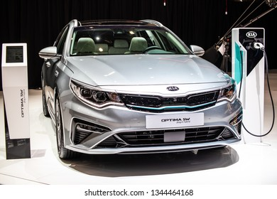 Geneva, Switzerland, March 05, 2019: metallic silver Kia Optima Plug-in Hybrid SW station wagon combi at Geneva International Motor Show, car produced by South Korean manufacturer Kia Motors